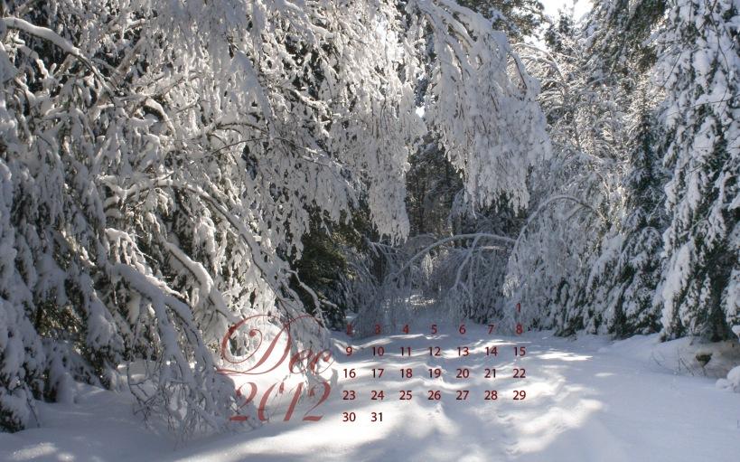 free desktop calendar december 2012