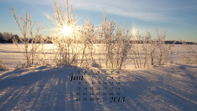 free desktop calendar January 2013