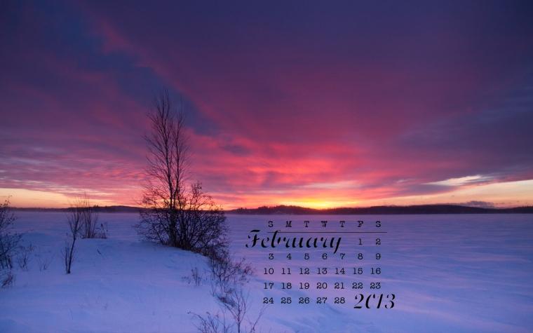 free desktop calendar february 2013
