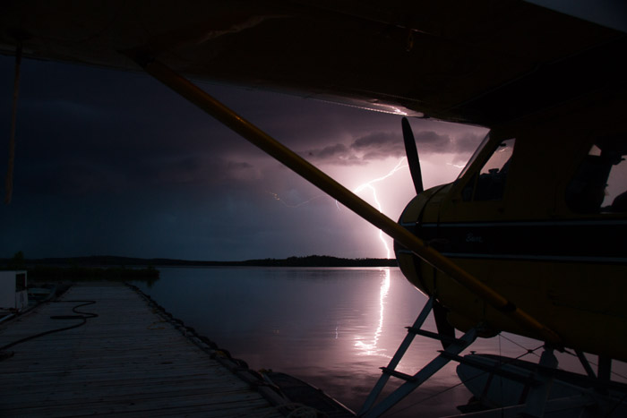aircraft silhouette with lightning strike