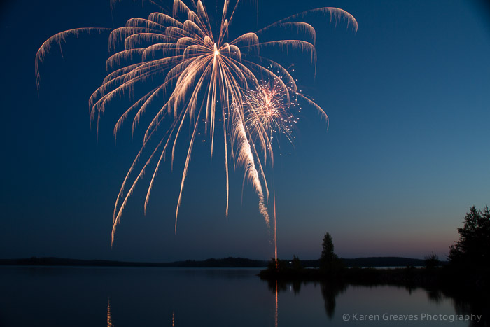fireworks over agimak lake