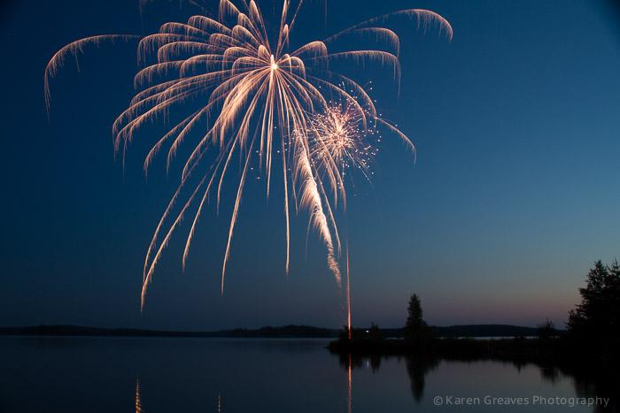 fireworks over agimak lake