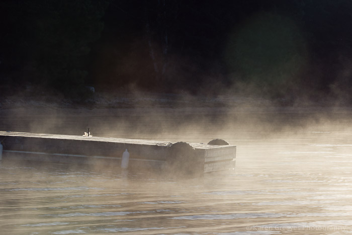 fall mist at dock