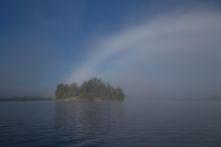 fog arch over island