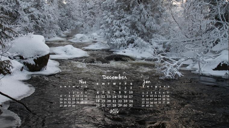 free desktop calendar December 2016 1600x900